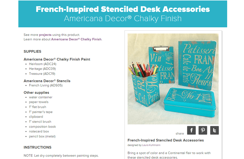 DecoArt French-Inspired Stenciled Desk Accessories