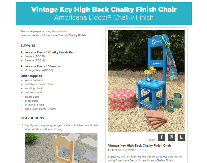DecoArt Vintage Key High Back Chair