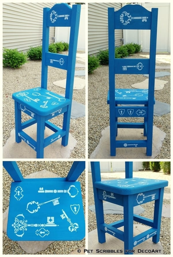 Decorative High Back Chair with chalky finish and stencils