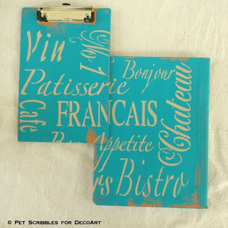 French-Inspired Desk Accessories-clipboard and notebook
