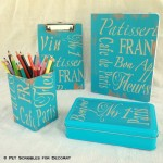 French-Inspired Stenciled Desk Accessories
