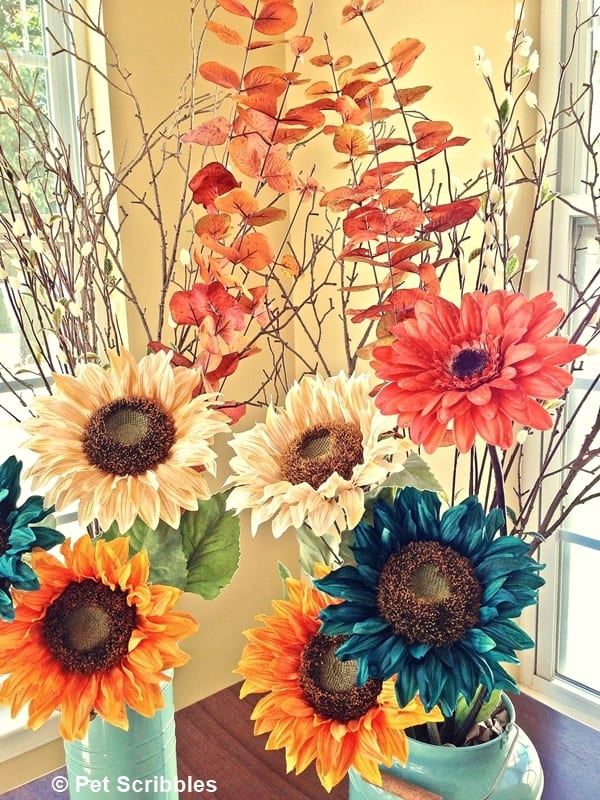 Simple Fall Floral Arrangements, using faux florals and stems from Michaels!