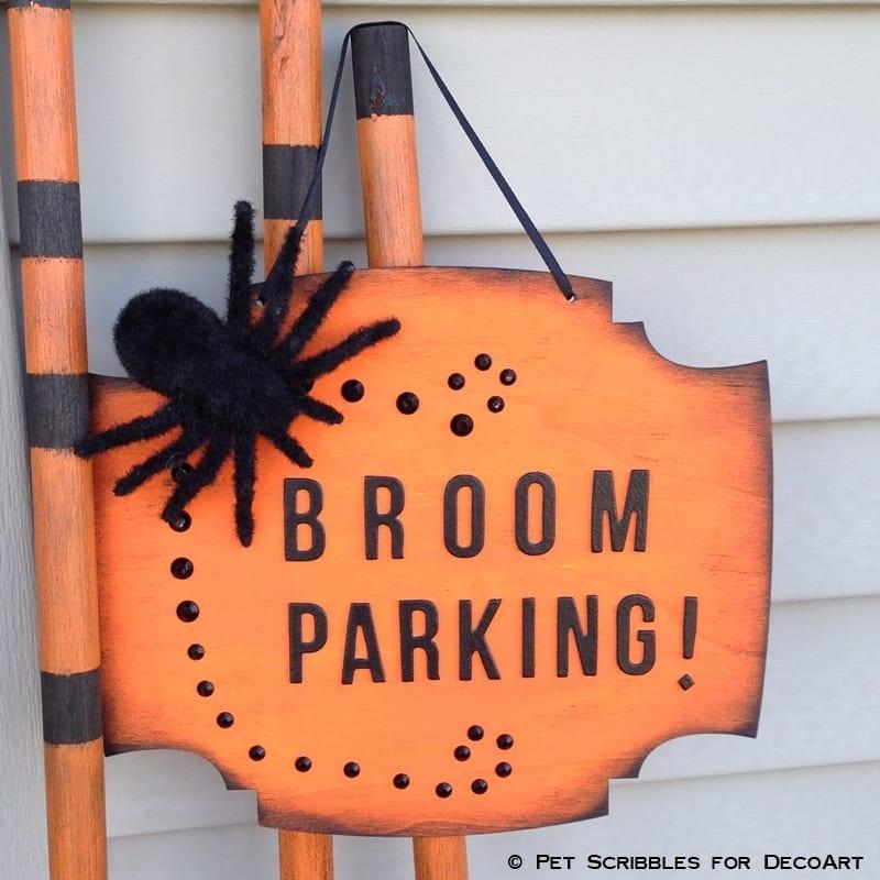 Broom Parking Sign Halloween Decor