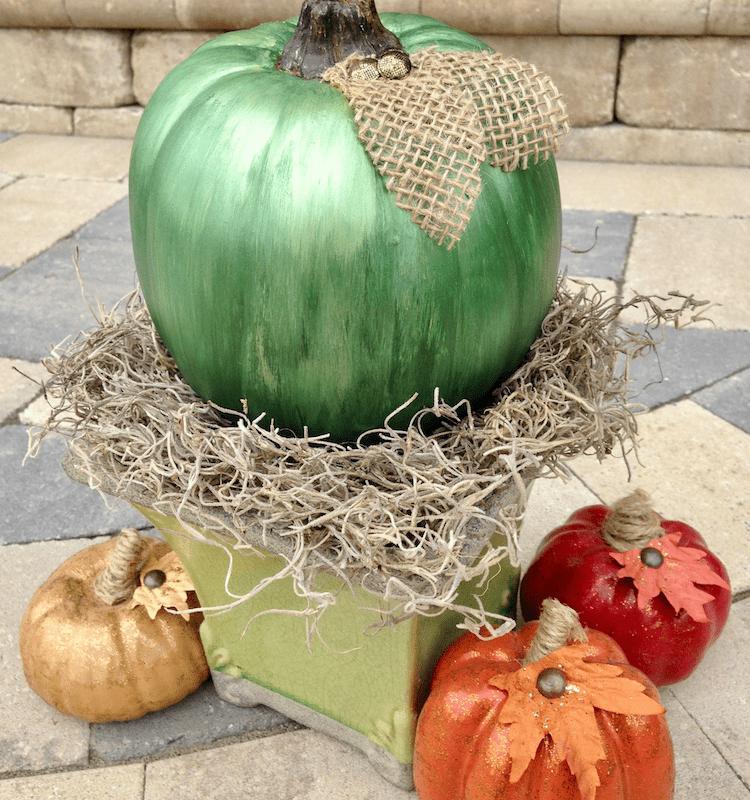 DIY Mercury Glass Pumpkin tutorial using three colors of metallic paint!