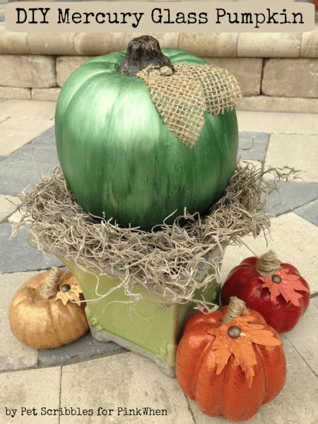 DIY Green Mercury Glass Pumpkin