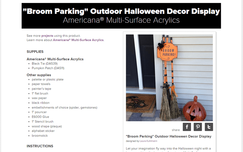 DecoArt Broom Parking Display DIY