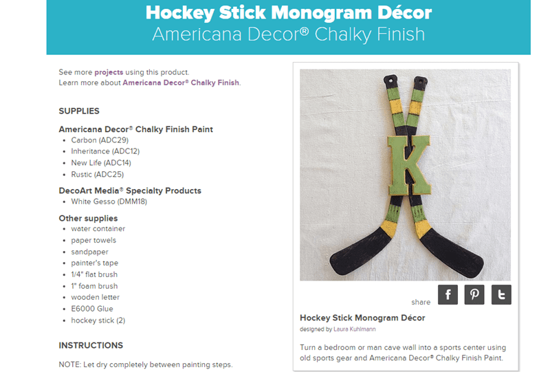 DecoArt Hockey Stick Monogram Decor