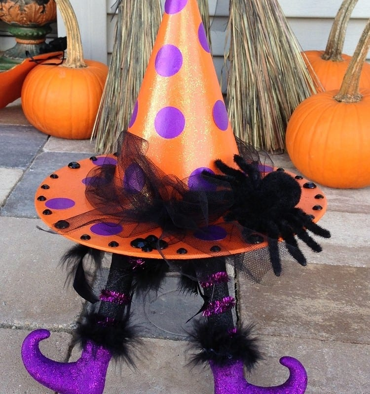 Glitter Polka Dot Witch Hat with Wicked Witch Legs
