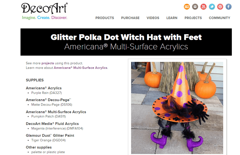 Glitter Polka Dot Witch Hat with Feet