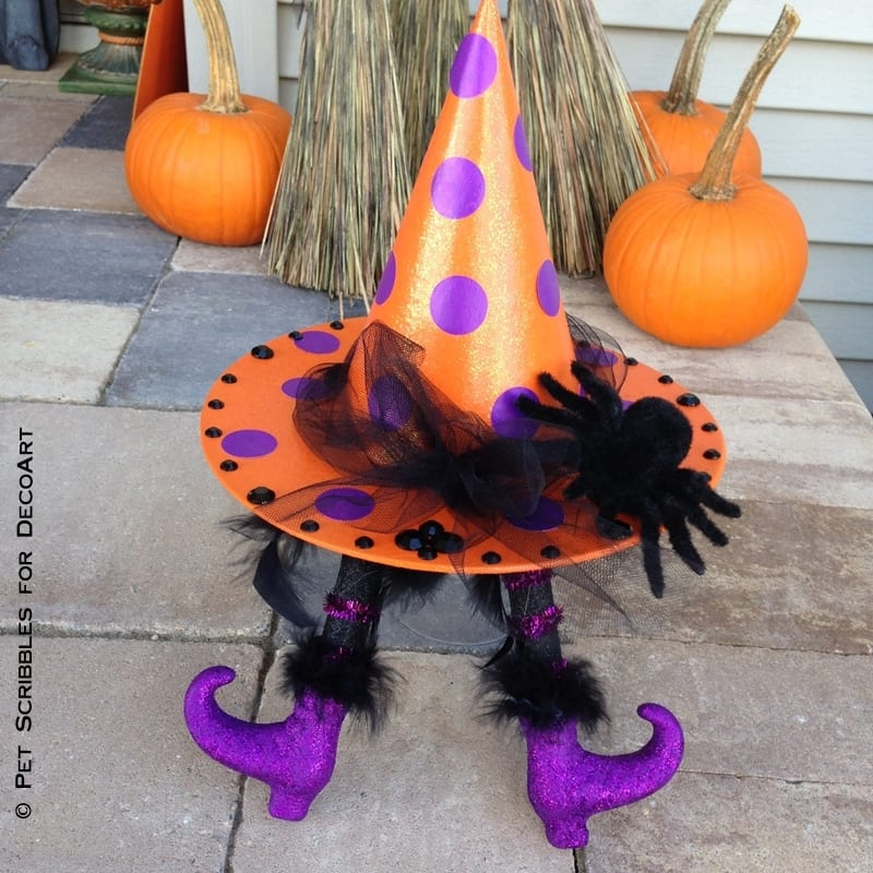 Halloween Polka Dot Witch Hat with Wicked Witch Legs