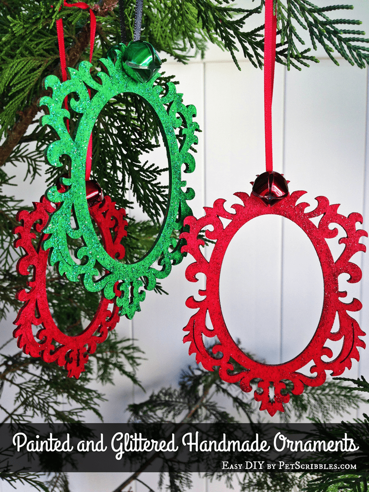 Painted and Glittered Handmade Ornaments
