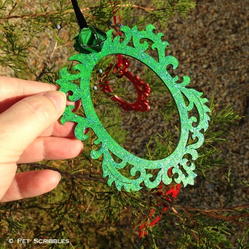 Wood Ornament with Green Glitter Paint