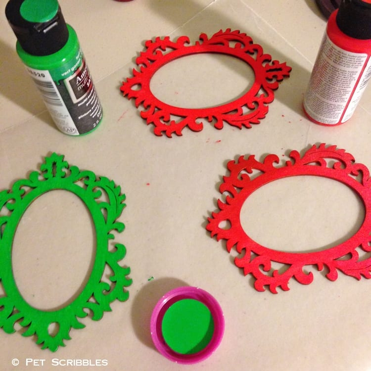 painting wood ornaments red and green