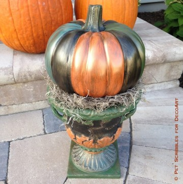 Colorful Outdoor Pumpkin Urn Decor