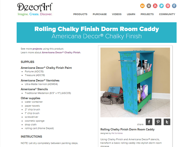 DecoArt Dorm Room Caddy DIY screenshot