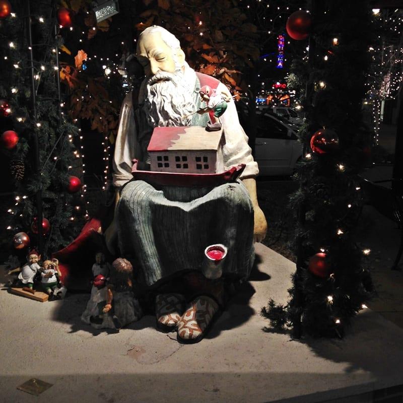 Santa display and lights at Southlands