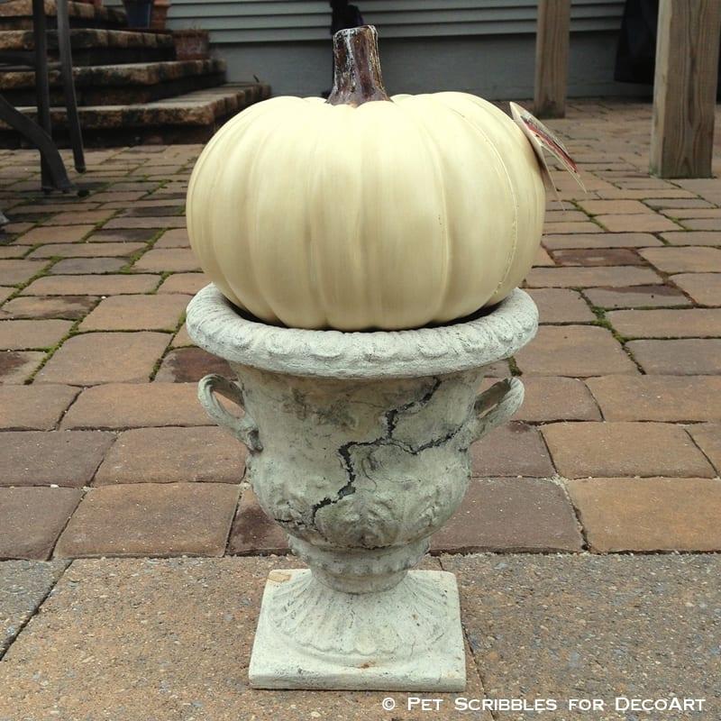 craft pumpkin and garden urn