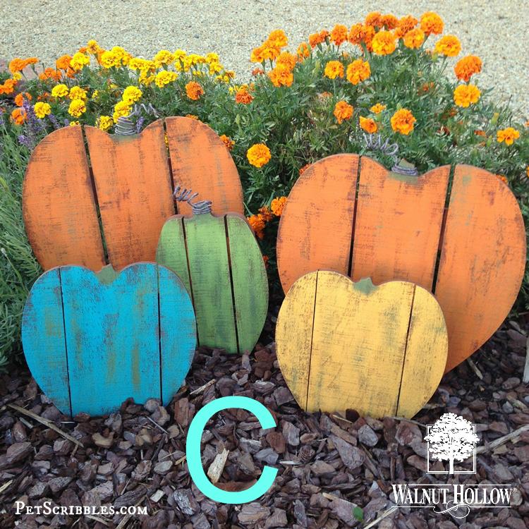 painted wood pallet pumpkins