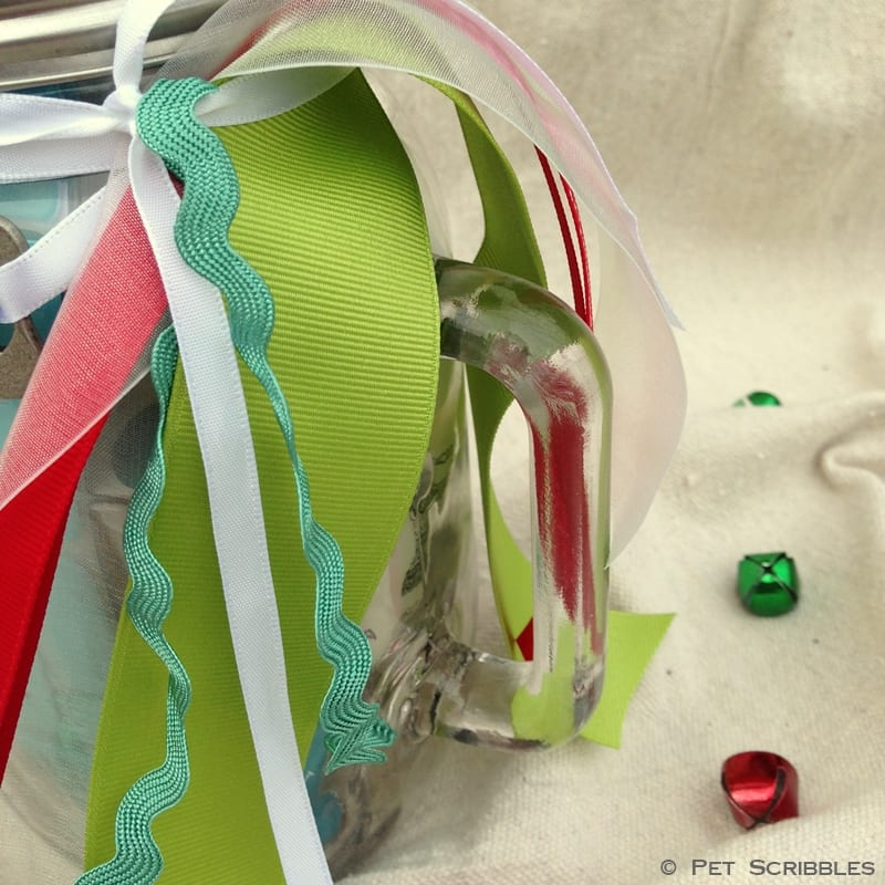 ribbons on a mason jar