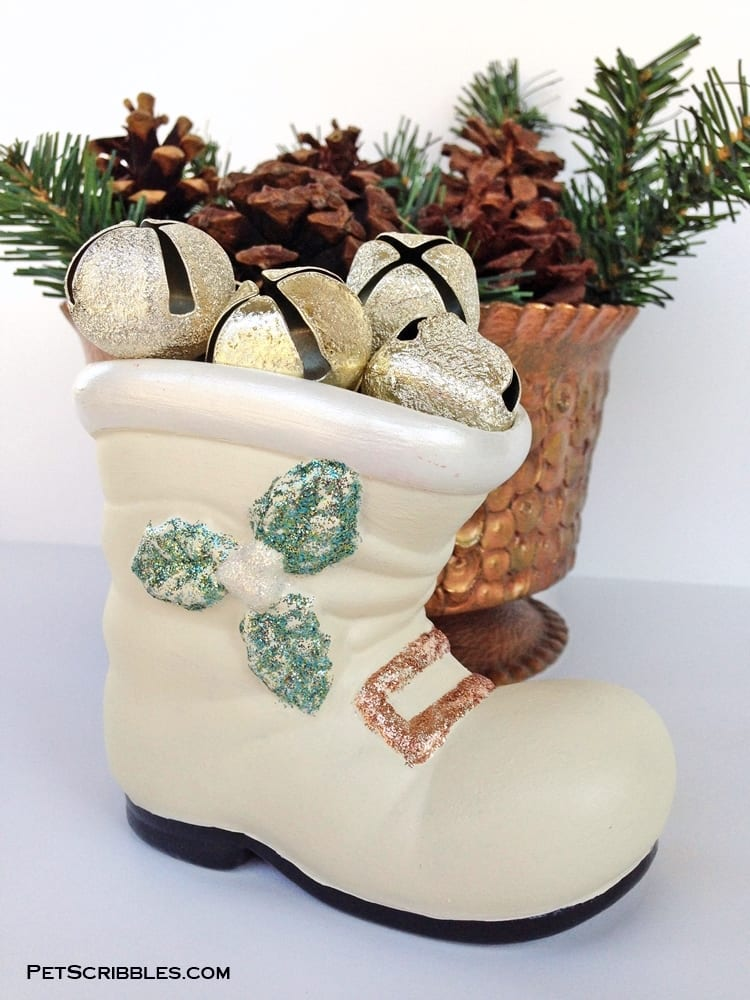 A vintage Santa boot gets a pretty makeover for a white Christmas! I love how easy it is to do with paint and glitter glue!