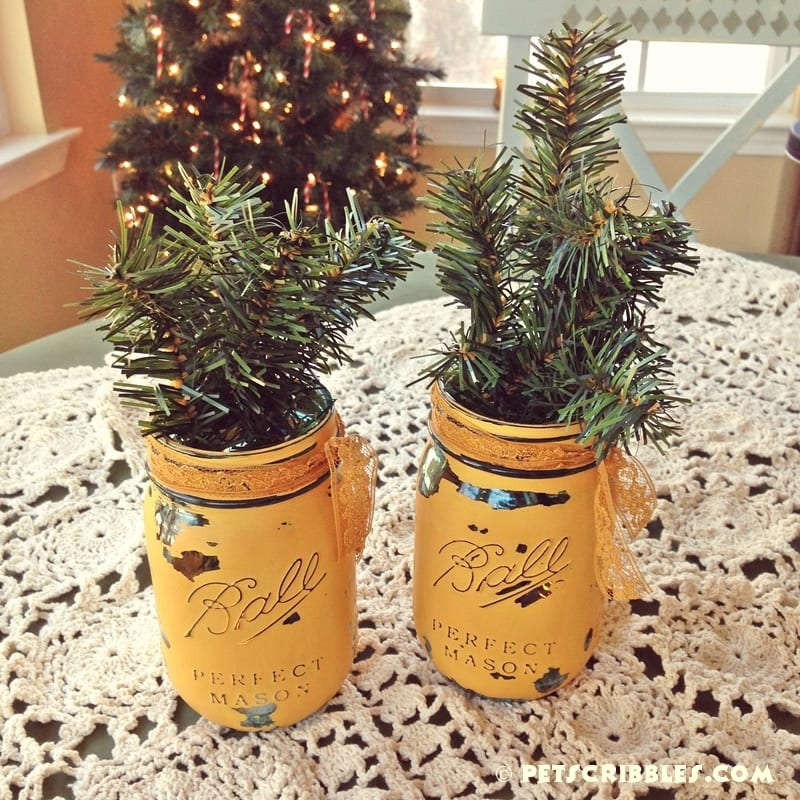 Christmas greens in mason jars