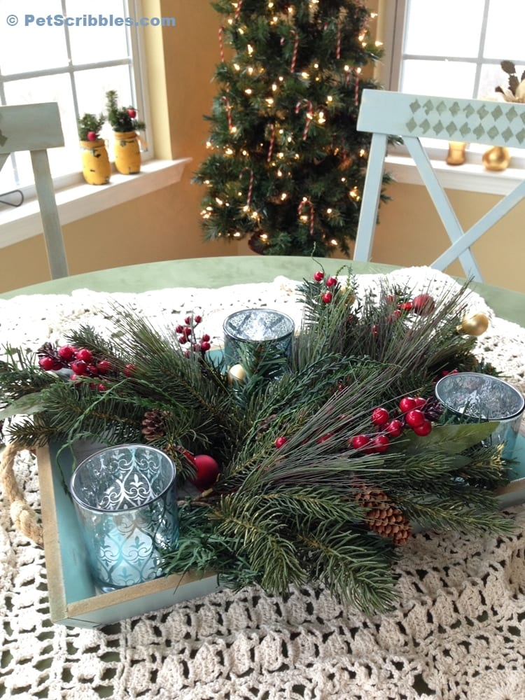 Coastal Holiday Tray Centerpiece