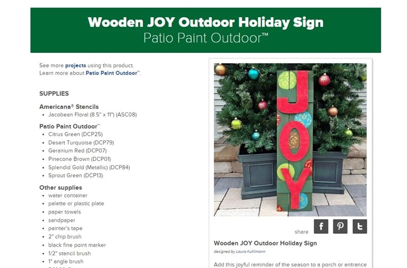 DecoArt Outdoor JOY Sign DIY
