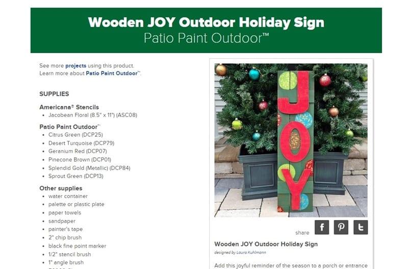 DecoArt Outdoor JOY Sign DIY