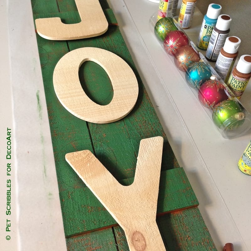 Painted and Stenciled JOY Sign