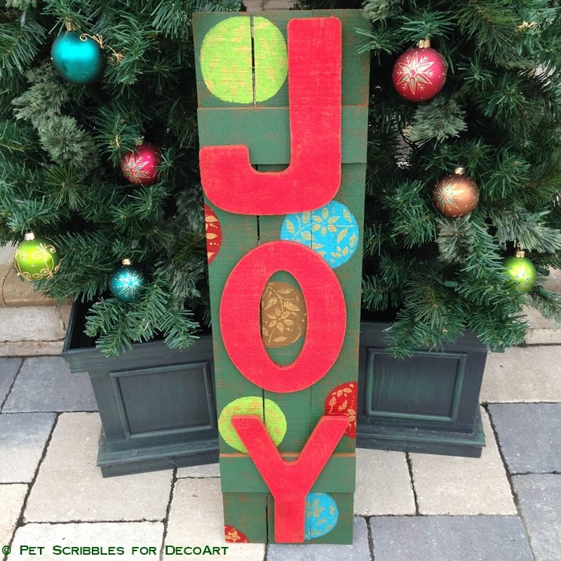Painted and Stenciled Vintage Style JOY Sign