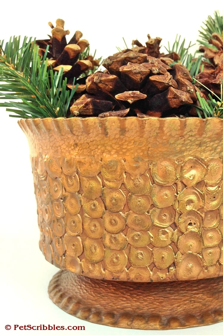 Pinecones and Greenery in Copper Urn