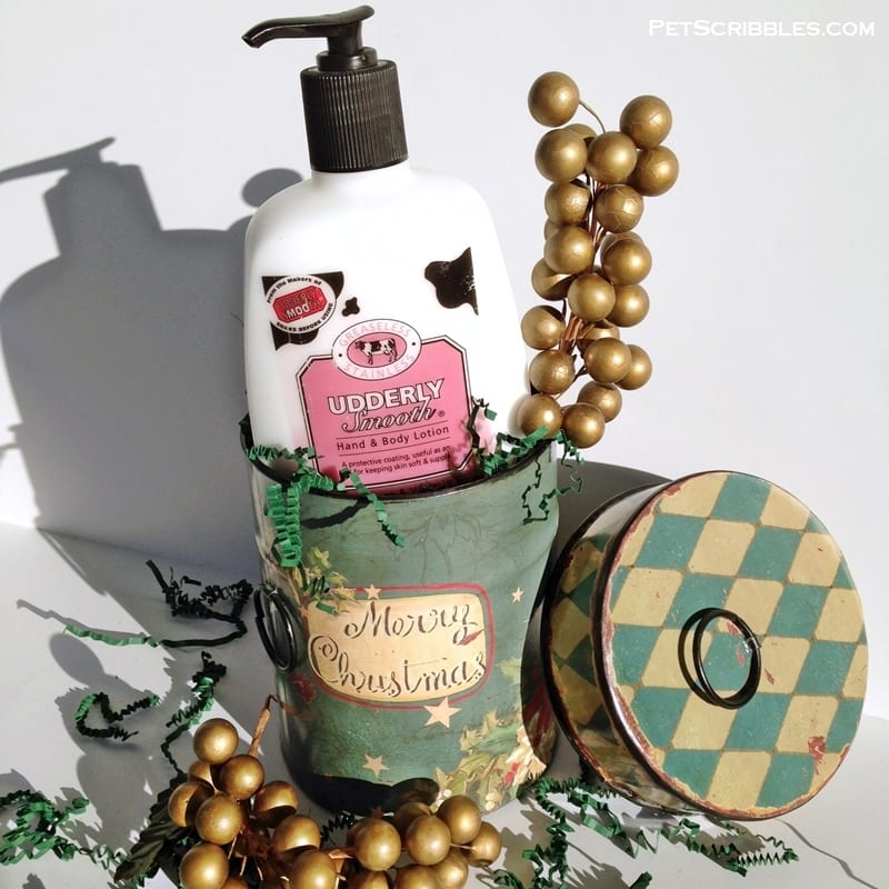 Udderly Smooth Lotion in a vintage-style tin