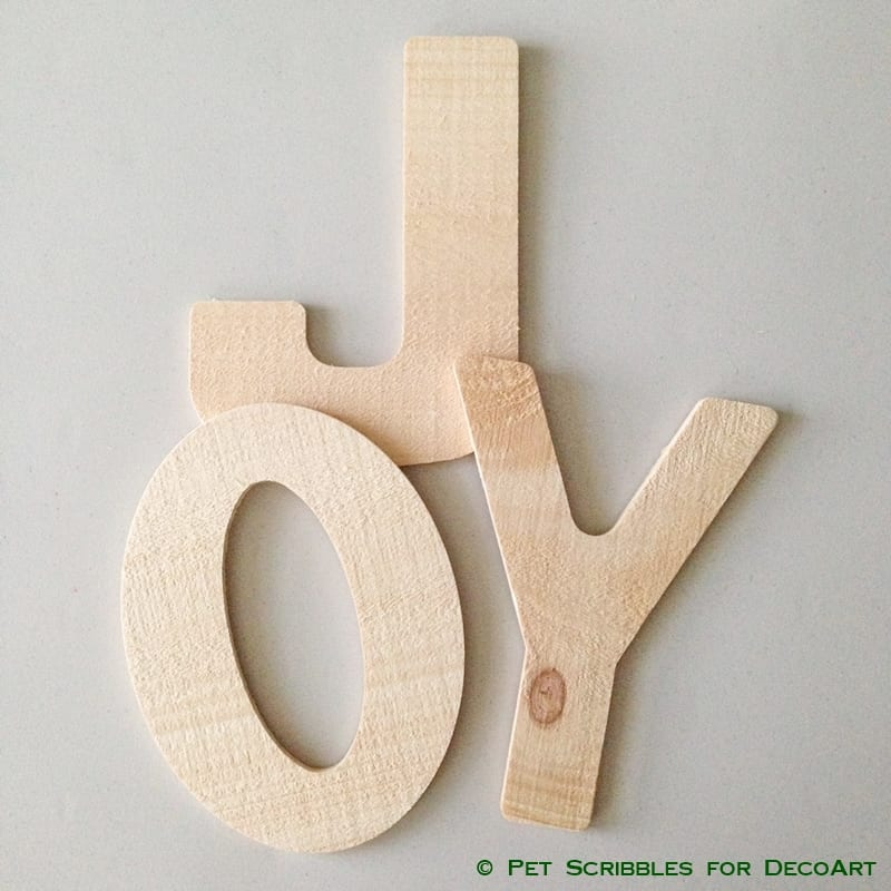 Unfinished wood JOY letters