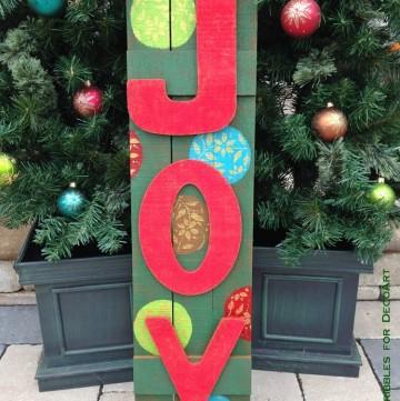 Wooden Outdoor JOY Sign