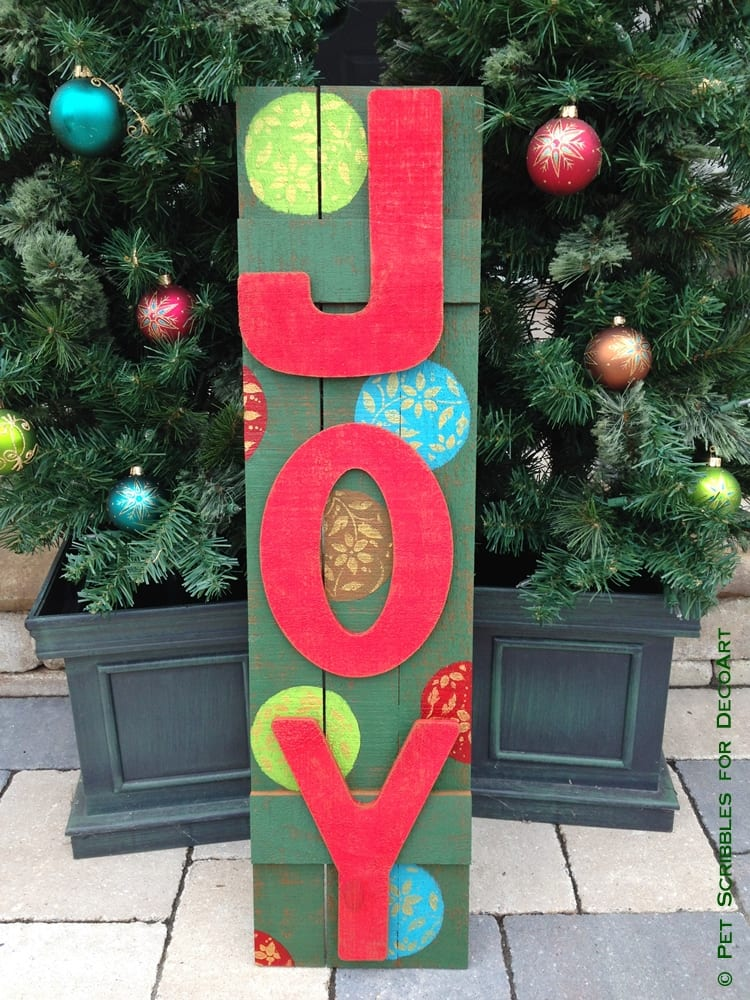 Wooden Outdoor JOY Sign - Pet Scribbles