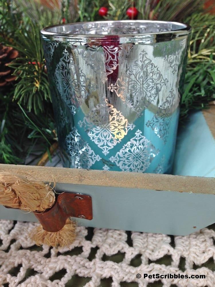 blue mercury glass candle holders
