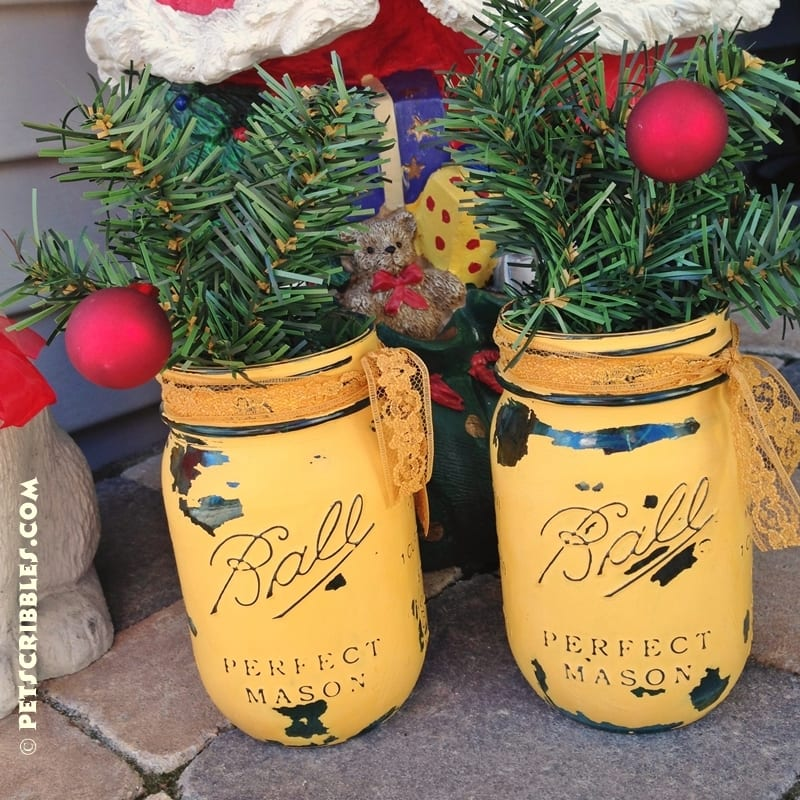 chalk painted Christmas mason jars