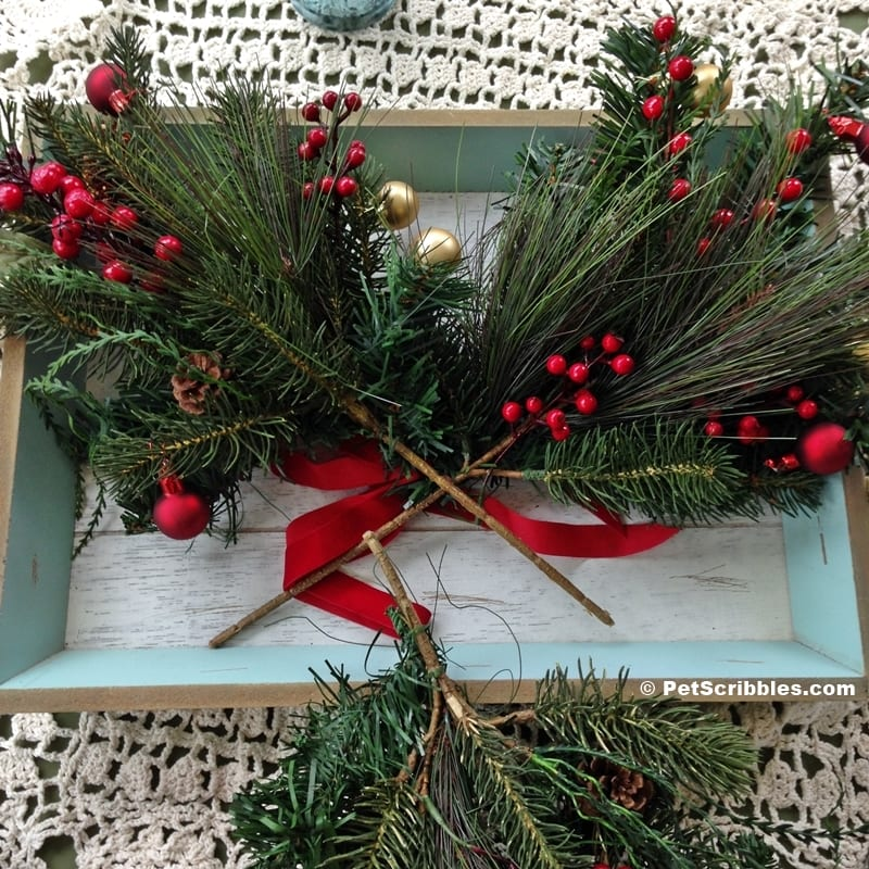 faux pine and berry picks for Christmas centerpiece