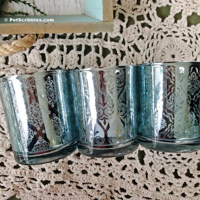 ice blue mercury glass votive holders
