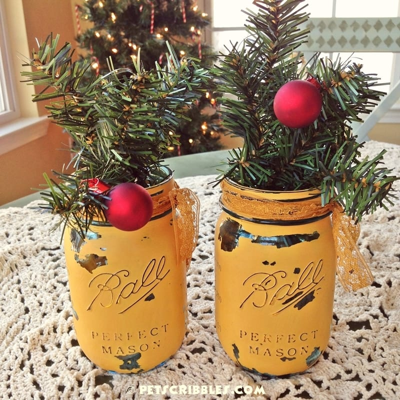 painted mason jars for Christmas