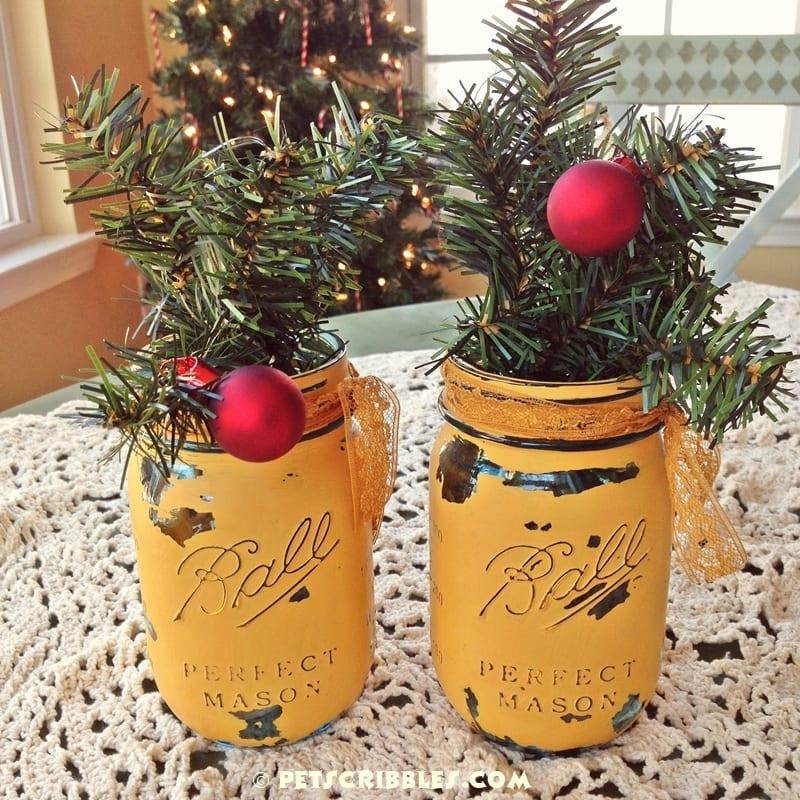painted mason jars for Christmas