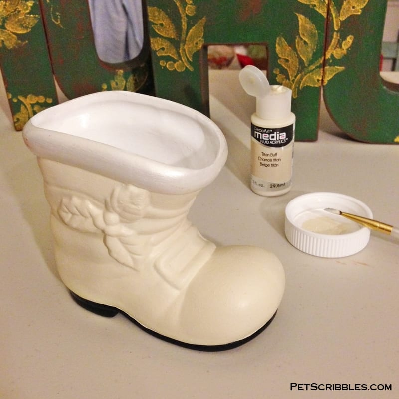 vintage Christmas boot makeover