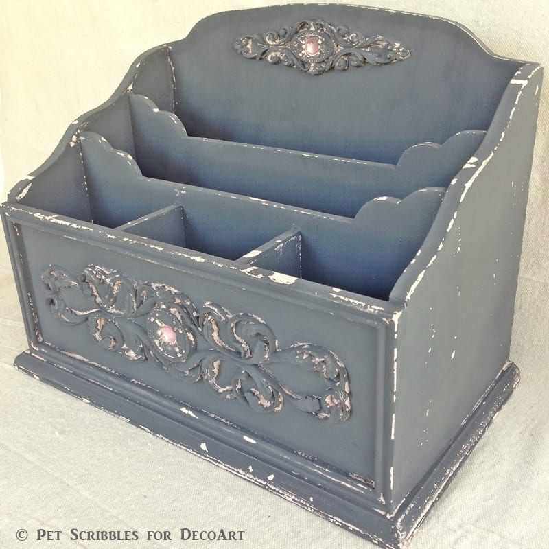 Chalk painted Art Supply Caddy
