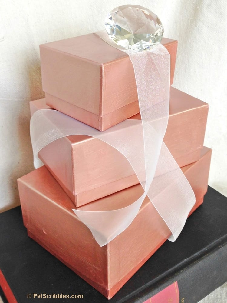 Diy rose gold stacking boxes pet scribbles Home interiors sconces