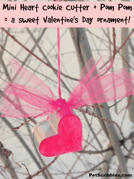 Make this in about 5 minutes: Mini heart cookie cutter + pom pom = a sweet Valentine's Day ornament!