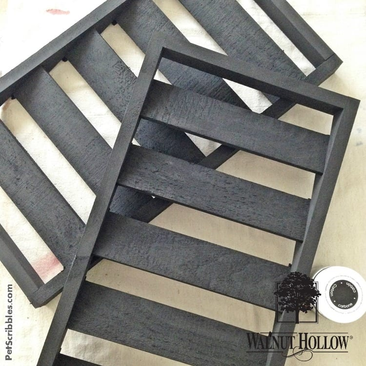 black chalky painted shutters