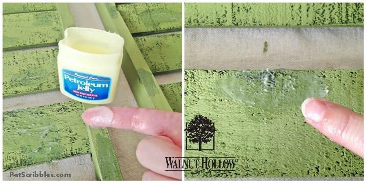chippy paint technique using petroleum jelly