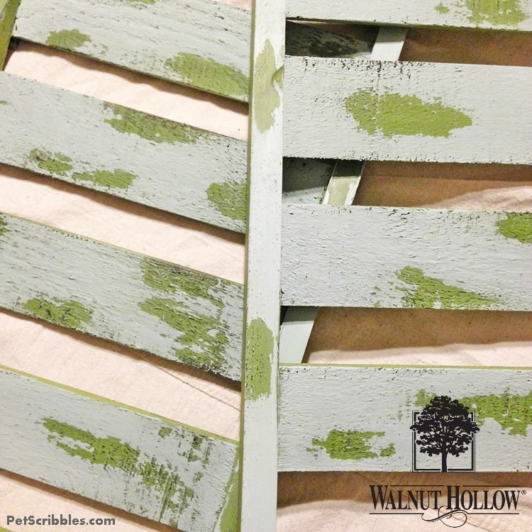 rustic shutters with chippy paint finish