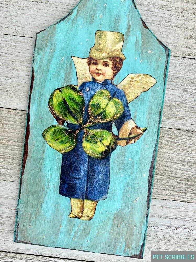 St. Patrick's Day decor with vintage leprechaun image