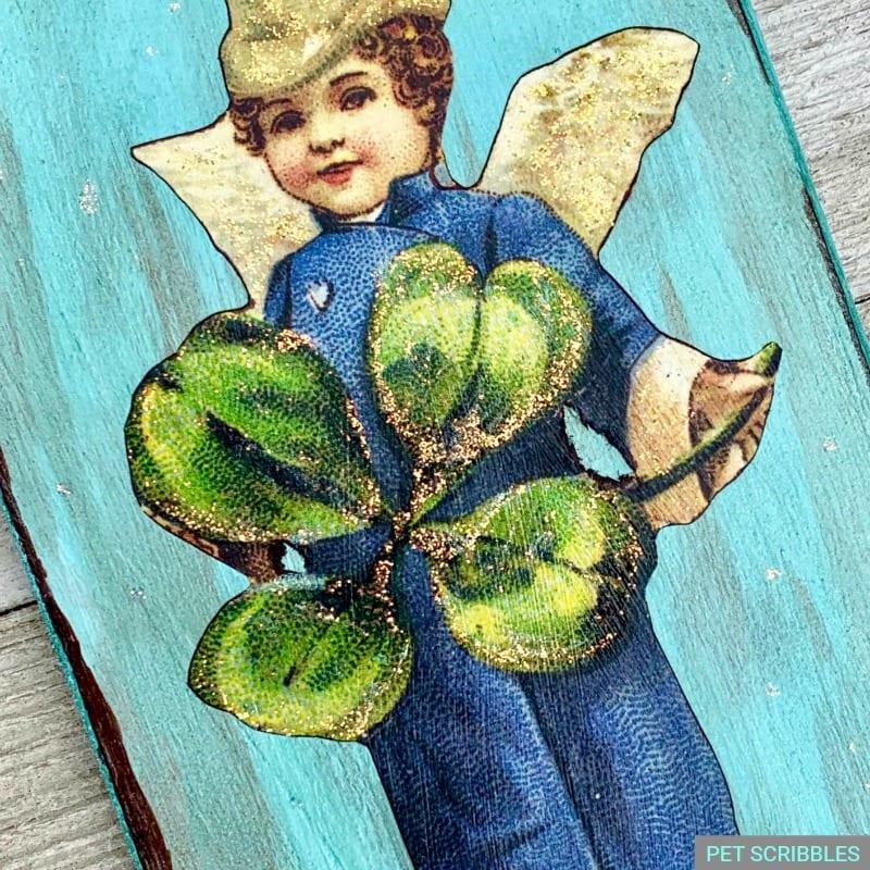 glitter detail on vintage leprechaun image St. Patrick's Day decor